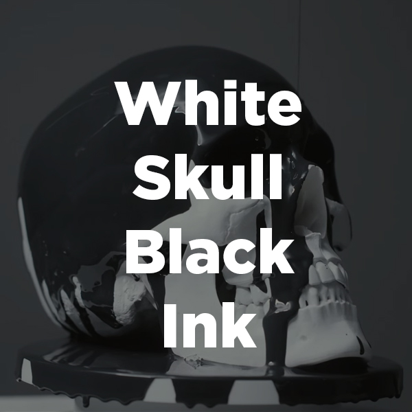 Stock Videography: White Skull Black Ink