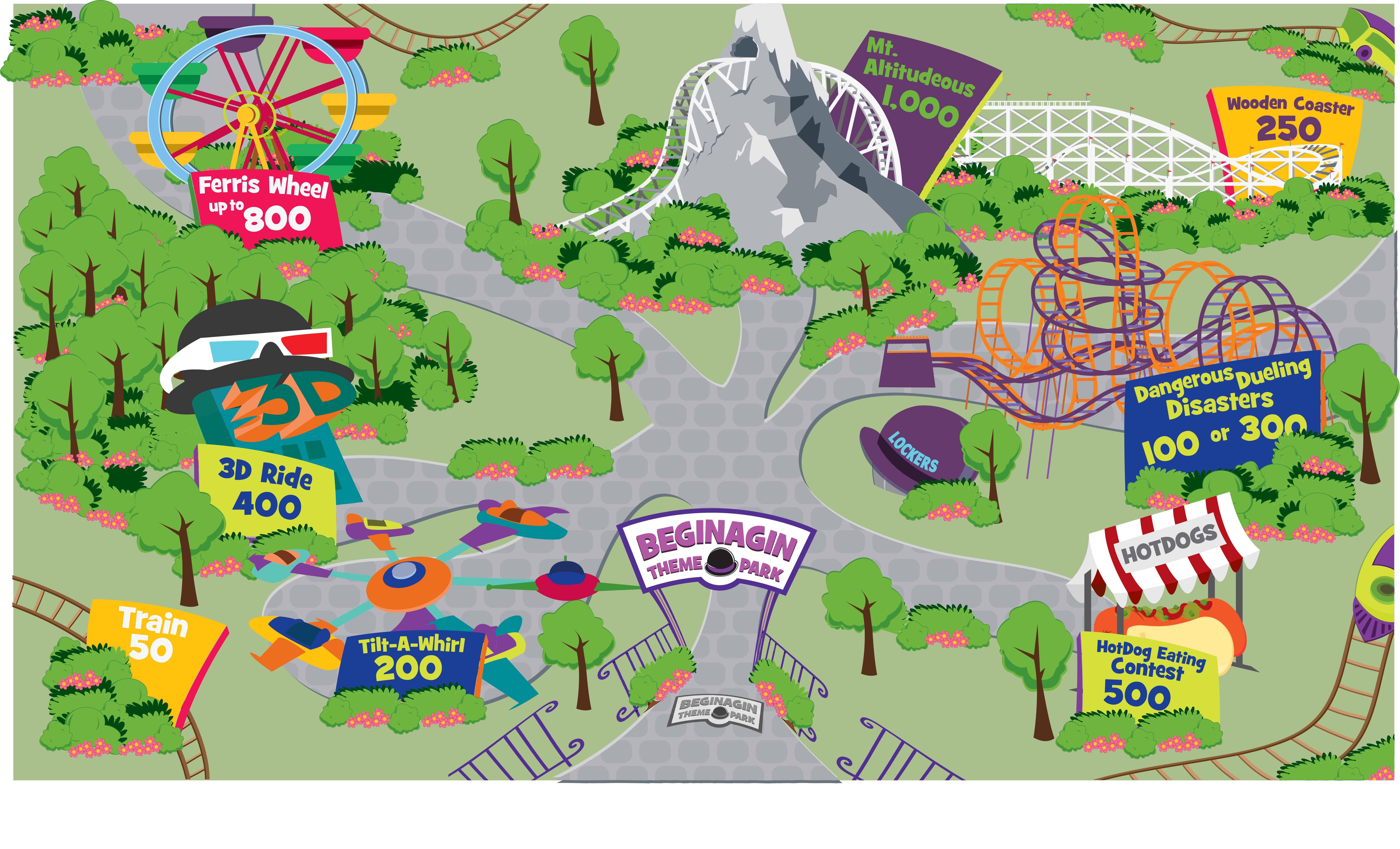 Park Map (JPG)   Off the Rails at Beginagin Theme Park