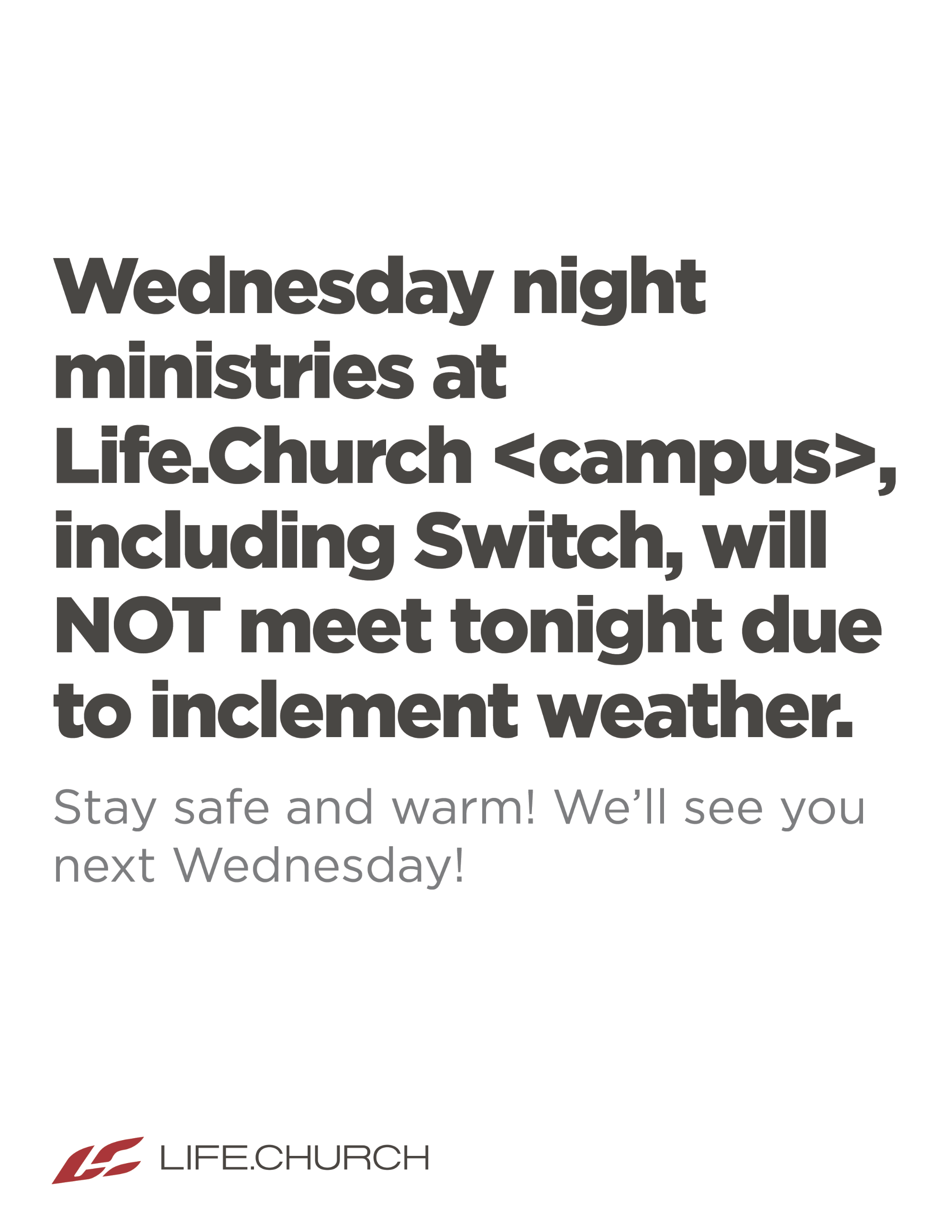 Wednesday Night Ministries Cancelled - Weather (PSD)